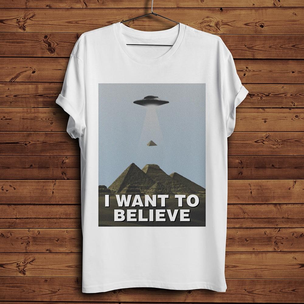 EU quero acreditar ufo alienígena Pirâmides engraçado t-shirt dos homens novos homme TShirt hipster streetwear ocasional t camisa branca