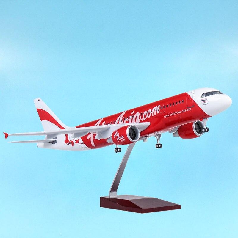 1/80 47CM avión Airbus A320 NEO Air Asia.Com modelo de aerolínea LED tren de aterrizaje ligero modelo avión de pasajeros adulto muestra de exhibición de juguete