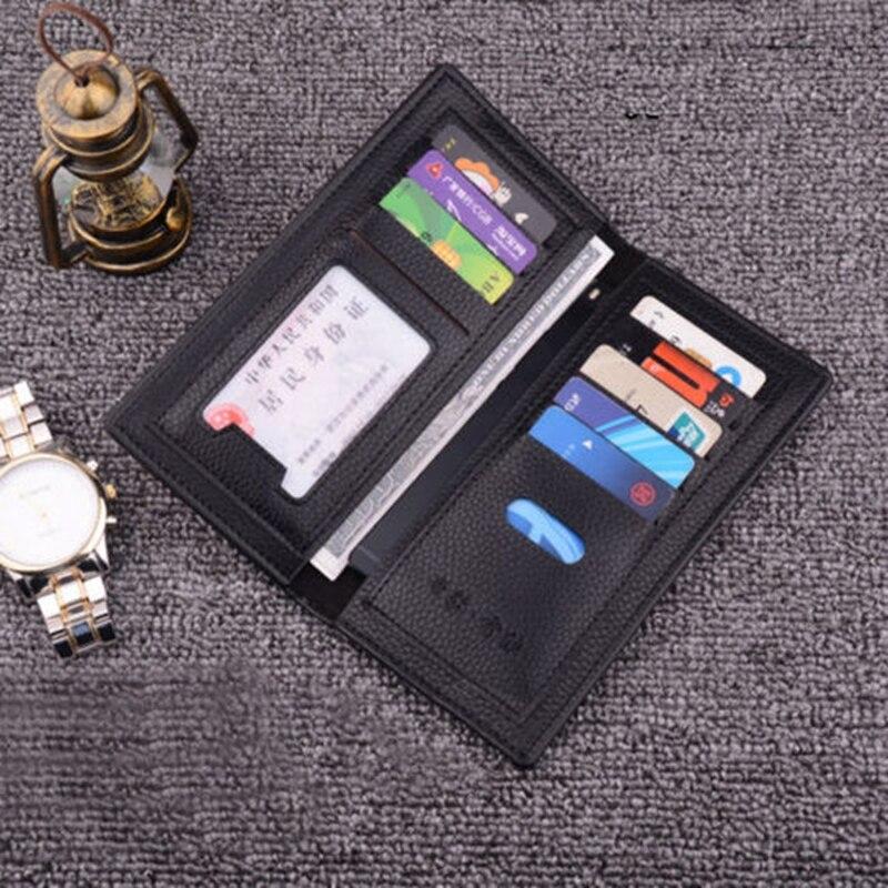 Billetera con bolsillo de tarjeta de cuero para hombres de negocios, billetera con bolsillo de tarjeta, cartera plegable, cartera con tarjetero