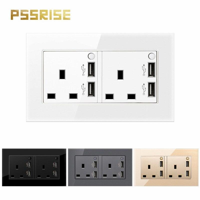 مقبس حائط USB مزدوج مع 3 فتحات ، مفتاح قياسي ، زجاج مقوى ، تأريض من نوع المنزل ، 13A