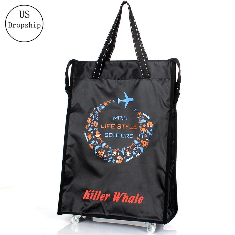 Women Men Travel Bag Collapsible Ladies Shopping Bag Grocery Puller Trolley Bag Wheel Bag Portable Storage Shopping Cart