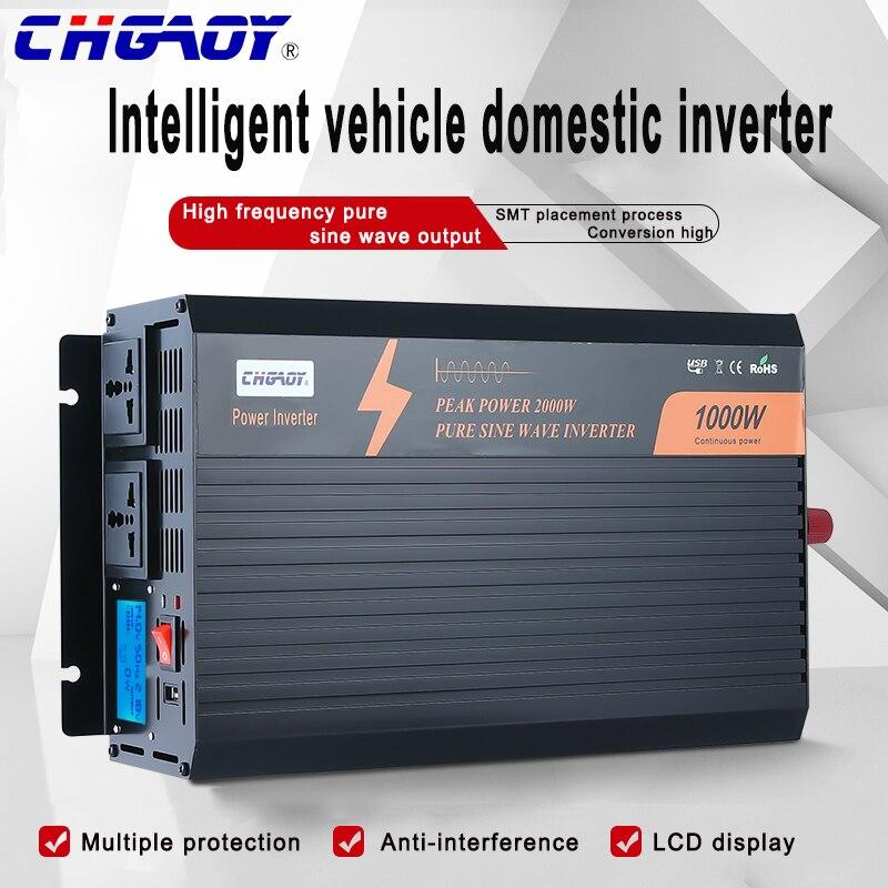 عاكس موجة جيبية نقية للمنزل أو السيارة ، 1000 واط ، 12 فولت/24 فولت/48 فولت إلى 110 فولت/220 فولت ، مع شاشة رقمية