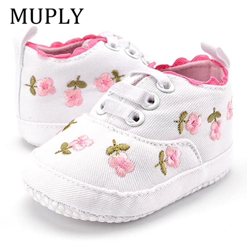 Baby Girl Shoes White Lace Floral Embroidered Soft Shoes Prewalker Walking Toddler Kids Shoes First