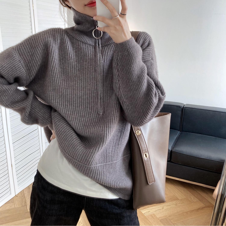 Sweater design sense high neck zipper head sweater women autumn/winter loose wear thick knitted top