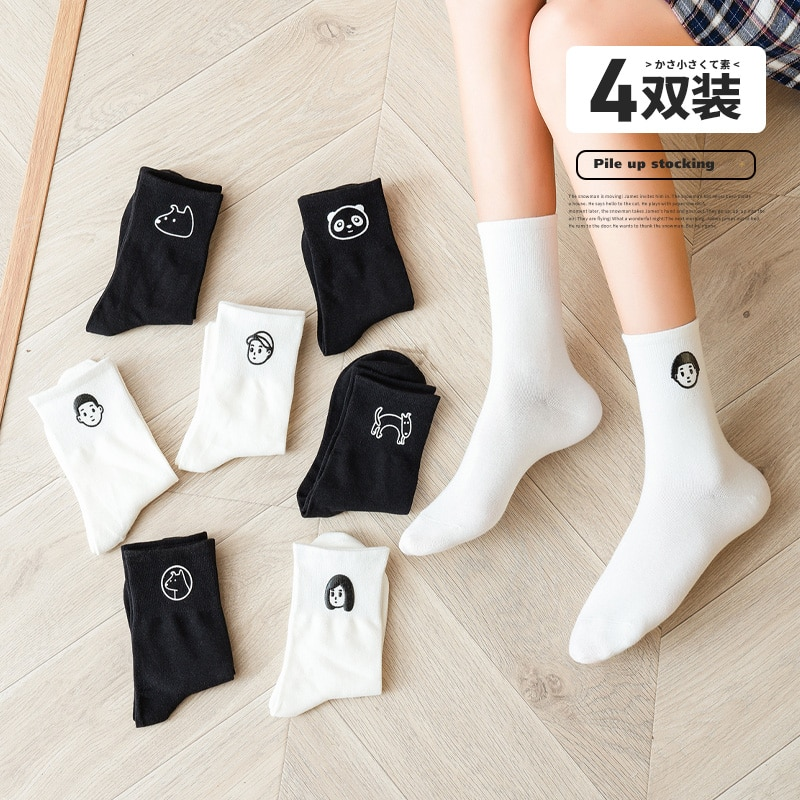 Socks Women Tube in Autumn and Winter in Japanese and Korean Style Cute Black-and-White Long Pure Co