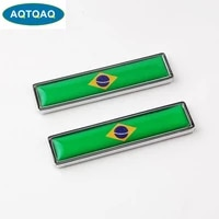 1 pair 3d car metal sticker aluminum brazil national flag car body trunk logo auto motorcycle personality decoration sticker car