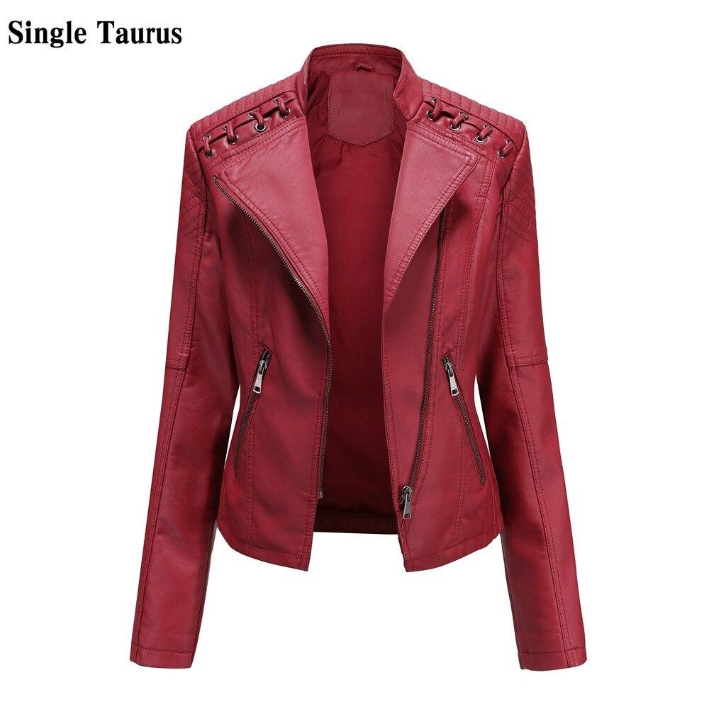 2020 Otoño Invierno chaqueta de Moto mujer de manga larga Streetwear Casual chaqueta de cuero rojo Slim Zipper Abrigos Mujer cazadora motera de PU chaquetas