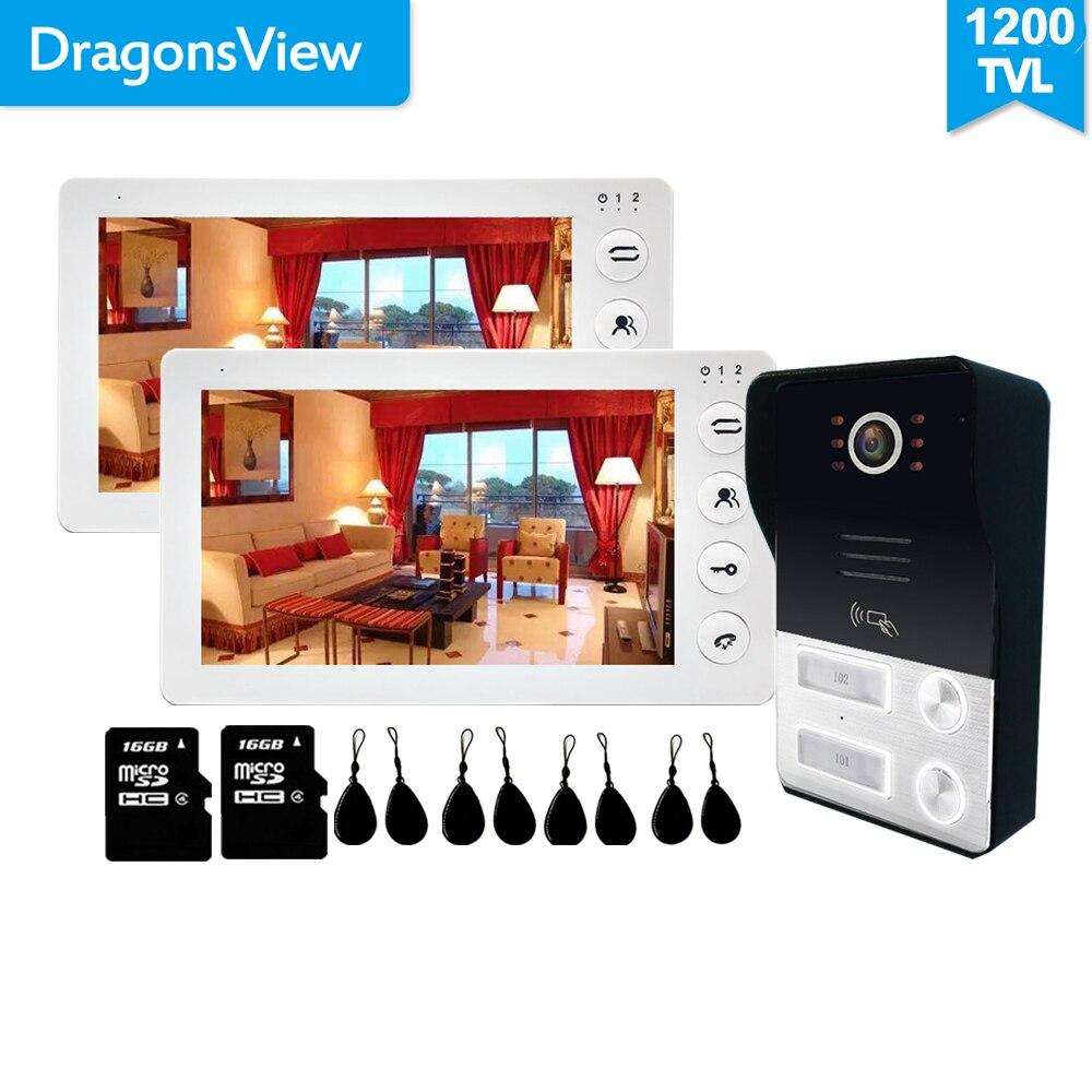 Dragonsview 7 inch Video Intercom 2 Apartment Black White Record SD Card Video Door Phone for 2 Families/Floor Unlock