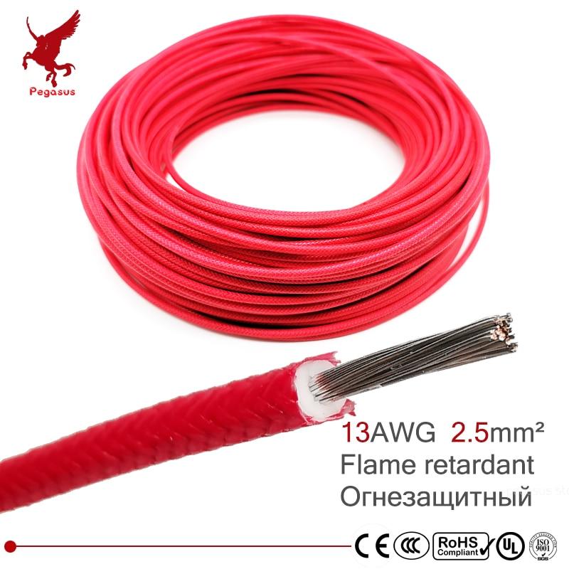 13AWG 2.5 square millimeter flame retardant power cable wire High temperature resistance Silicone Rubber Copper core glass fiber