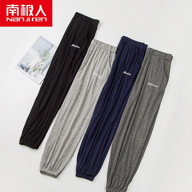 NANJIREN Summer Men Modal Pajama Sleepwear Pants Hot Sale Sleep Pants For Male Tether Pajamas Pants