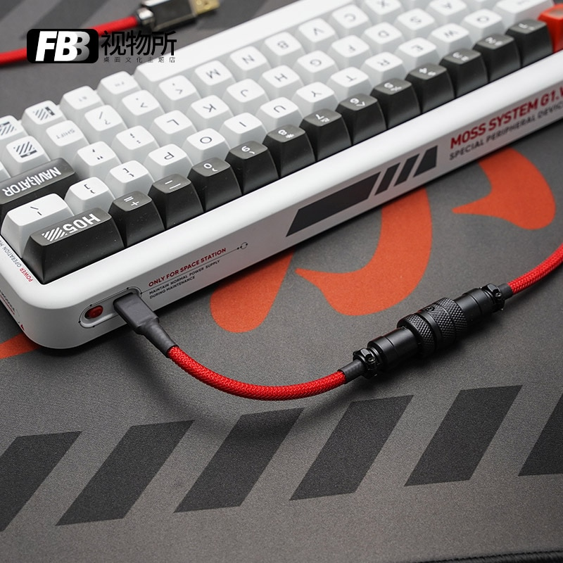 FBB كابلات الطيران التوصيل كابل بيانات مخصصة دليل لوحة المفاتيح الميكانيكية كابل الأحمر والأسود خط اتصال خط Keycap