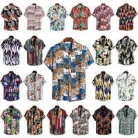 2021new summer high quality mens printed single breasted slim beach style short sleeve lapel collar mens shirts