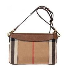 Tenant un sac pour femme classique toile plaid une épaule oblique sac hit la couleur correspondant en cuir enveloppe sac