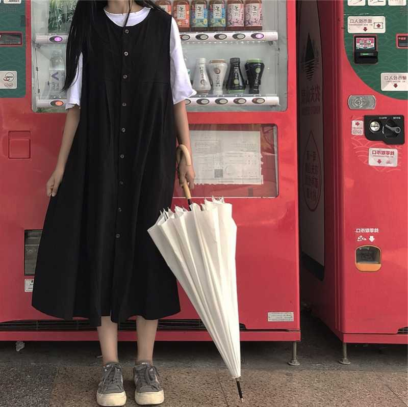 2020 High Waist Retro Dress Summer Fairy Ins Super Mori A- line Dress First Love Skirt Braces Skirt