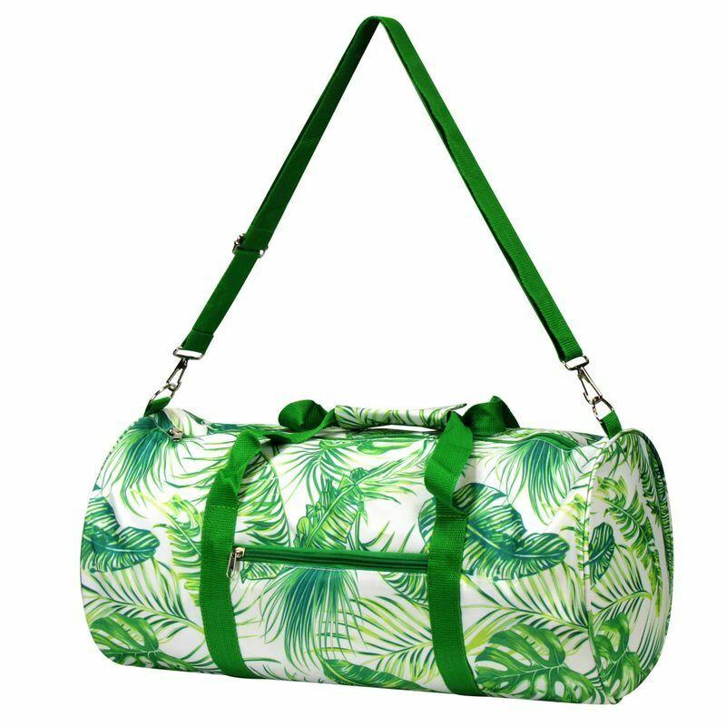 Women Fashion Duffel Bag Green Palm Leaf for Business Trip Camping Travel