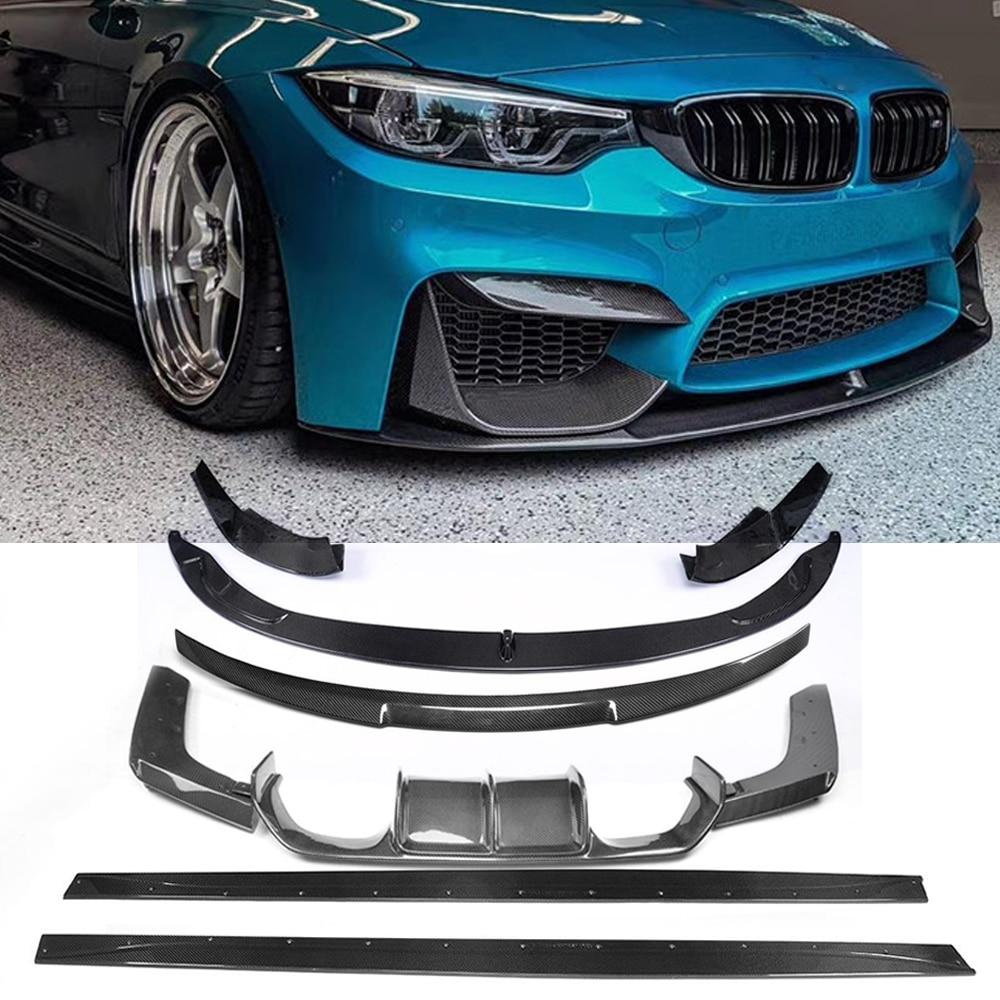 ناشر شفة المصد الأمامي للسيارة ، التنانير الجانبية ، ألياف الكربون ، لسيارات BMW F80 ، M3 ، F82 ، F83 ، M4 ، 2014 - 2019