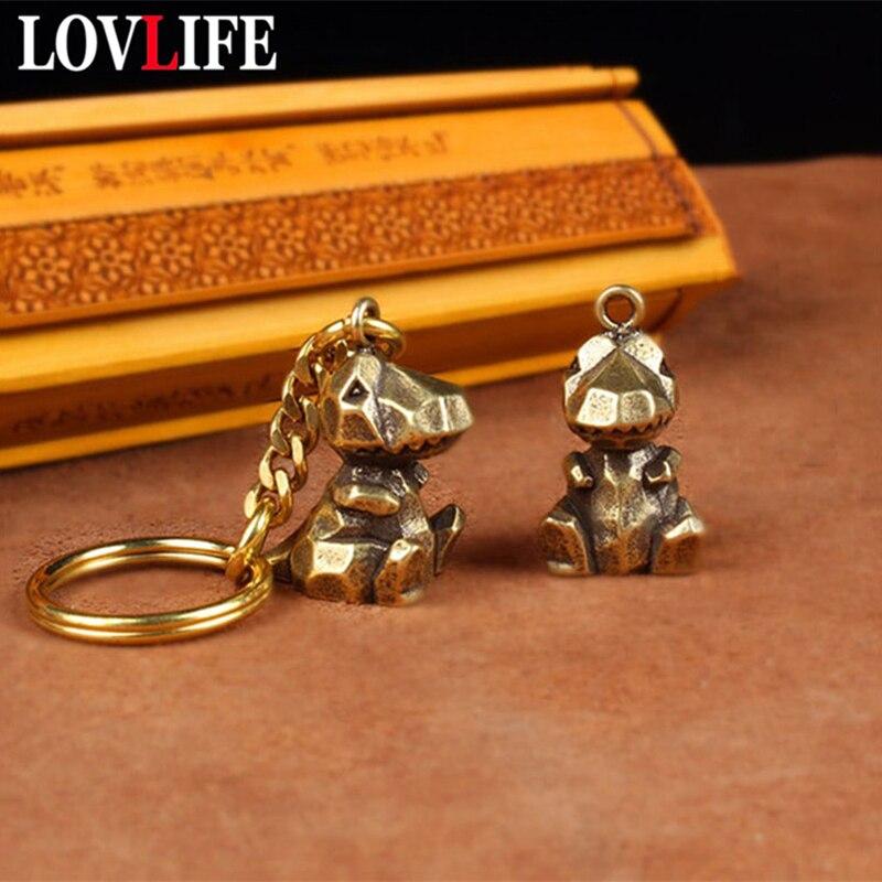 Vintage laiton géométrique abstrait dinosaure porte-clés pendentifs sac suspendus ornement dessin animé Animal Figurine porte-clés anneau bijoux