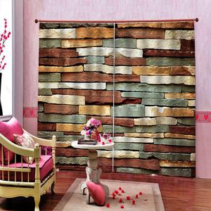 Window Treatment 3D Blackout Curtain colorful brick wall decor Kitchen Window Door Curtains Thick Blackout Curtain
