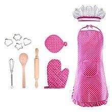 تنظيف المنزل المئزر مطبخ الشيف زي مجموعة للأطفال الفتيات لعبة الطبخ DIY بها بنفسك الخبز مجموعة شواء الطفل طفل مآزر نظيفة