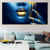 african woman half face gold lips sexy canvas paintings on the wall art posters and prints pictures cuadros for living room