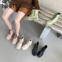 autumn martin boots female british platform square head cowhide jeans booties mid tube women boots lace up ankle botas mujer zip