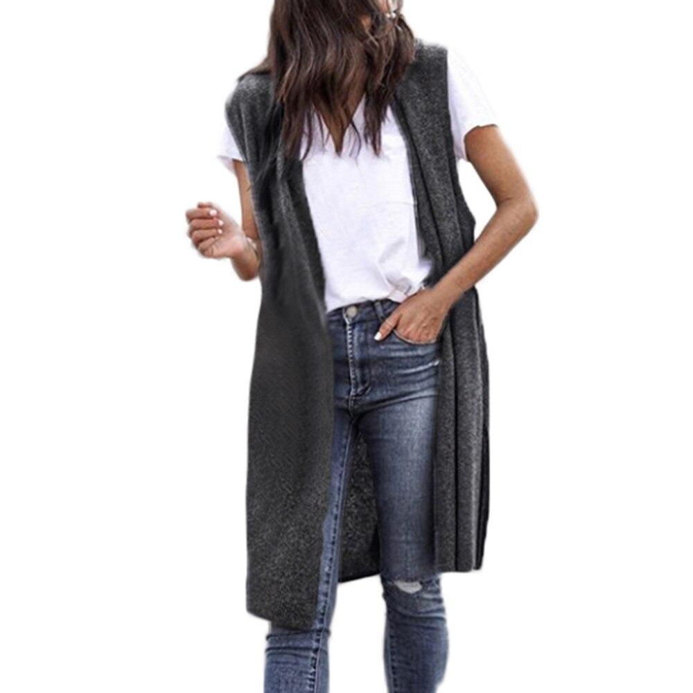 58# 2021 Autumn Women Long Vest Sleeveless Jackets Kimono Cardigan Coat Open Front Pocket Causal Lig