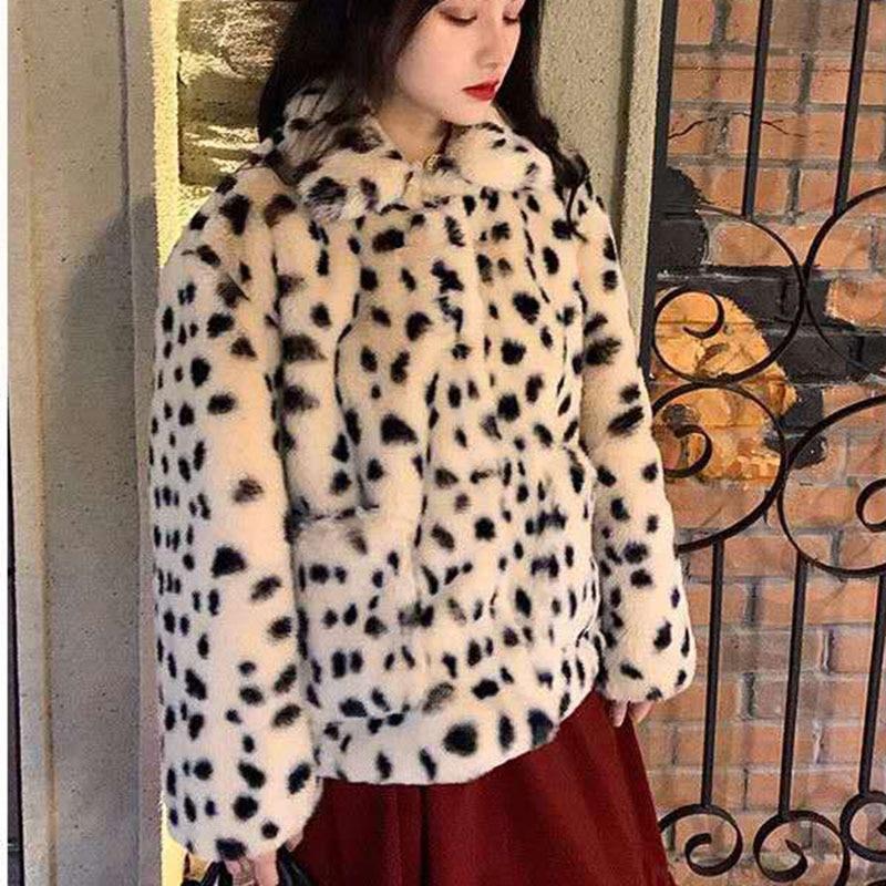 Корейская свободная Короткая Меховая куртка с леопардовым принтом, короткая Двусторонняя плюшевая Толстая куртка из искусственного меха, ...
