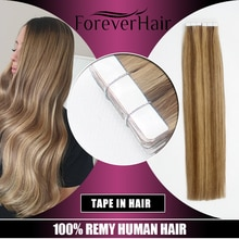 "FOREVER HAAR 2.0 g/stk 16 ""18"" 20 ""Tape In Natuurlijke Human Hair Extensions Ash Blonde Europese Huid inslag Remy Hair Extension 40g/pac"