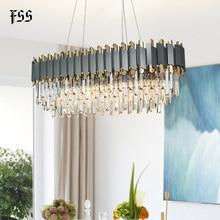 FSS nouveau moderne cristal Chrome Rectangle lustre éclairage pour salle à manger chambre ronde lustres salon luminaires