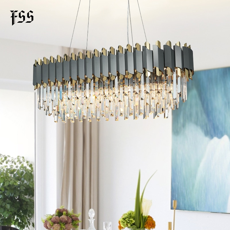 ¡Nuevo! Candelabro FSS moderno de cristal cromado para comedor, dormitorio, candelabros redondos, accesorios de iluminación para sala de estar