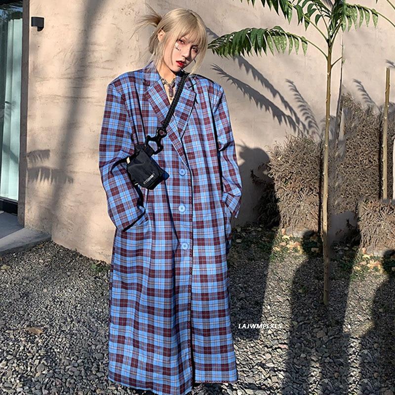البريطانية الرجعية سترة واقية الإناث 2021 تصميم خياطة التباين اللون منتصف طول منقوشة الربيع الخريف المرأة عادية خندق معطف