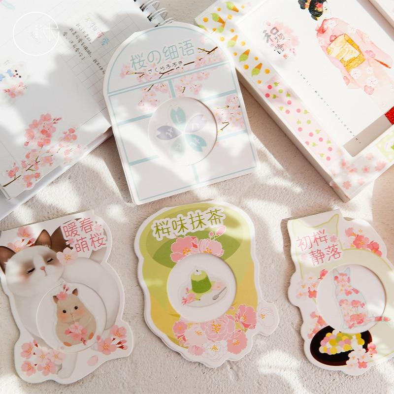 40 pcs/pack Sakura Matcha Warm Spring Bullet Decorative Stationery Stickers Scrapbooking DIY Diary Album Stick Label
