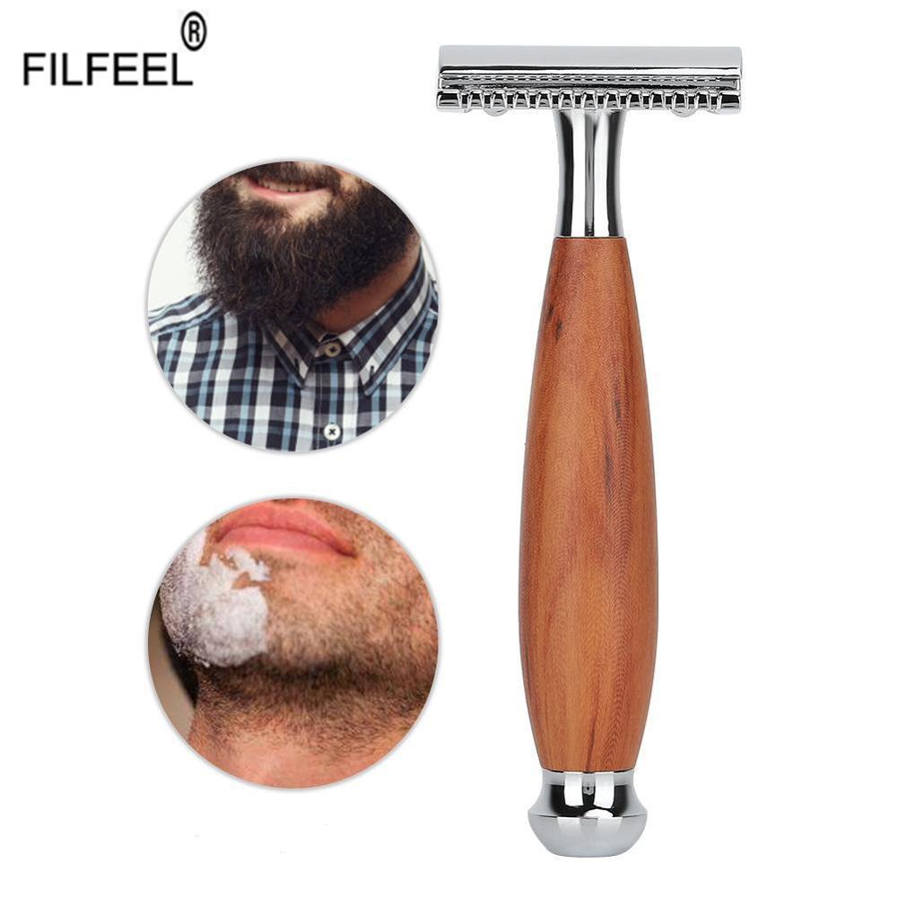 Мужская классическая Безопасная бритва с двойным лезвием, регулируемая ручная бритва с деревянной ручкой, инструмент для бритвы, подарок