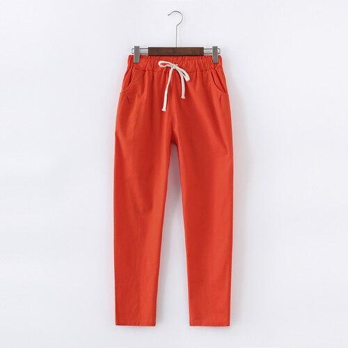 Женские хлопковые льняные брюки Garemay, Свободные повседневные однотонные женские шаровары размера плюс, женские Капри на лето | Женская одежда | АлиЭкспресс