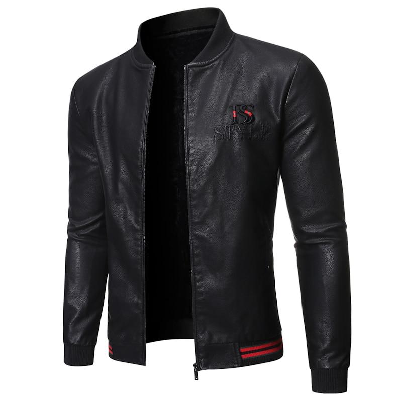 Faux Leather Jacket Men Outwear Coat Casual Jackets