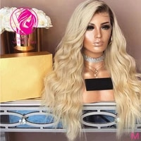 ombre blonde 613 lace front wig women human hair frontal wig free part 13x413x6 wavy remy hair with baby hairs 150 180