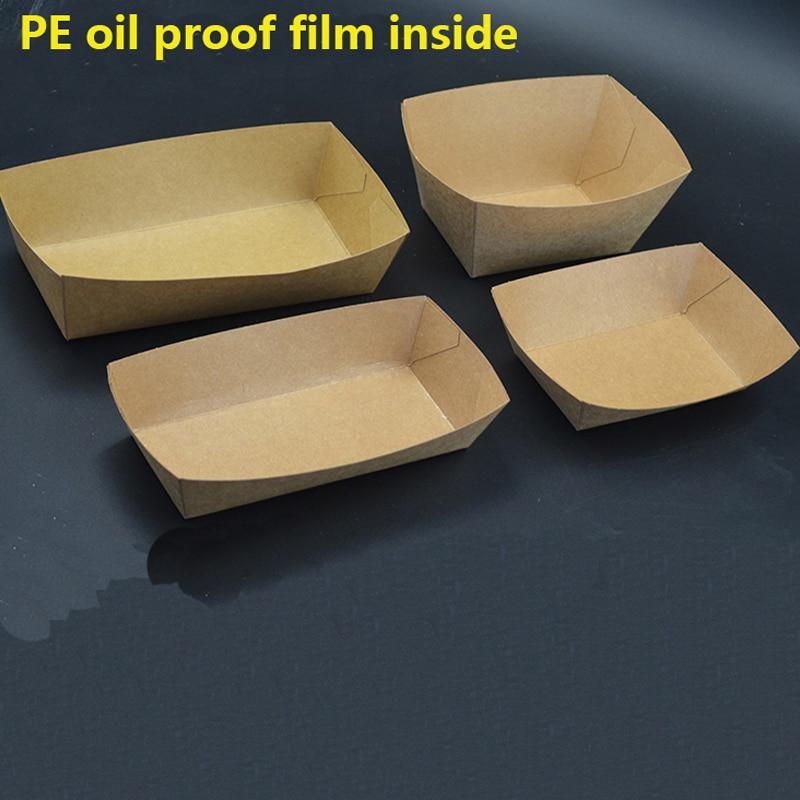 50 Uds. A prueba de agua a prueba de aceite barco forma Kraft contenedor para ensalada pollo alas de patatas fritas