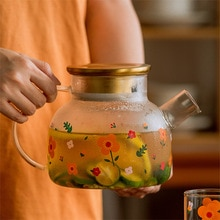Japanese Style Clear Glass Cold Kettle Cool Kettle Juice Scented Tea Fruit Teapot Tea Maker Large Ca
