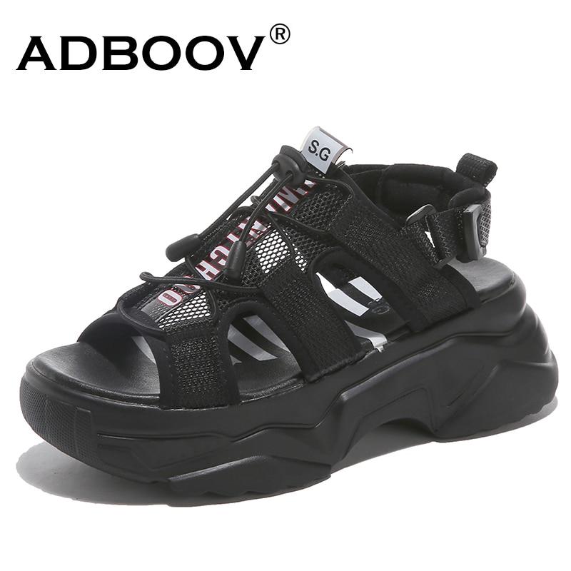Sandalias de cuña con hebilla ADBOOV para mujer, zapatos gruesos de verano de malla superior, blanco y negro