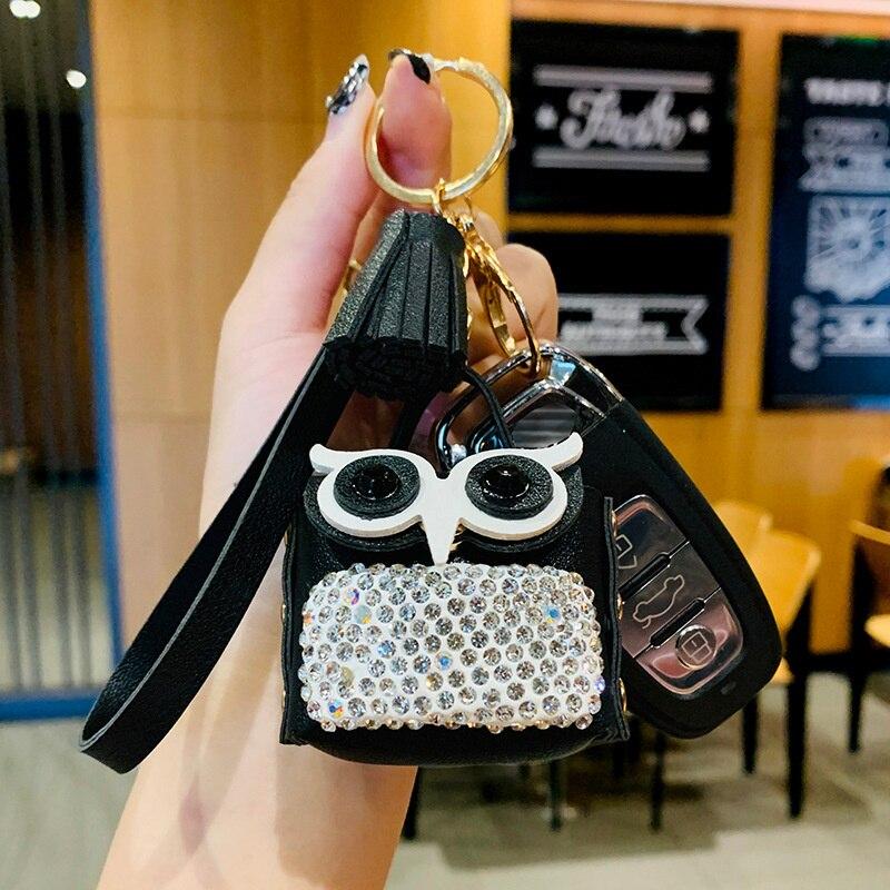 Брелок для ключей с инкрустированными бриллиантами маленькими сумочками, креативный аксессуар-кошелек с совами, белыми, розовыми, черными, ...