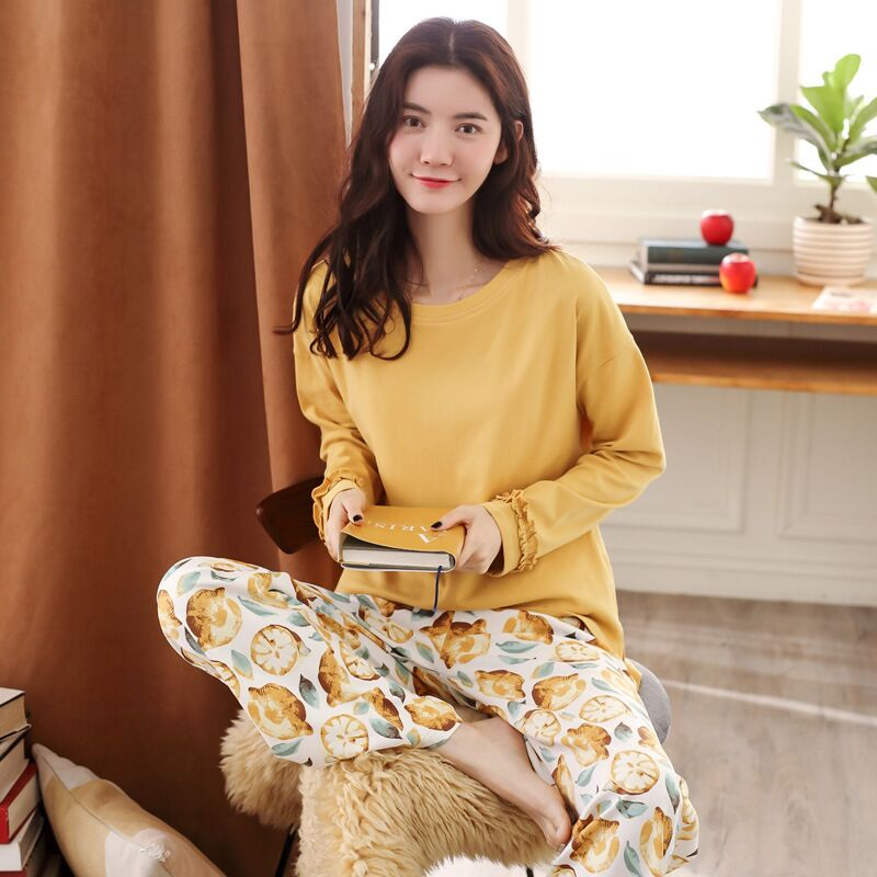 Sleep tops Autumn new style cotton long-sleeved home wear women Korean style striped plus size casual women's pajamas suit