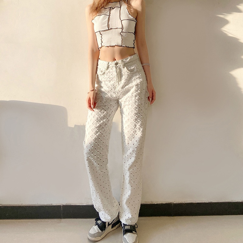 Spring New Hollow Casual Women's Pants Fashion Wave Point Loose High Waist Bag Hip Trousers Y2k All-match Wide-leg Pants Women