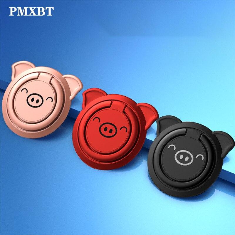 Soporte de anillo de dedo ultrafino de Metal 360 giratorio soporte de imán agarre de escritorio lindo cerdo incorporado hoja de hierro para teléfono móvil