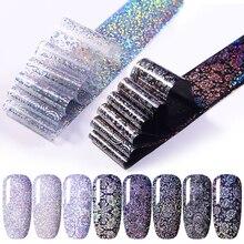1 Vel Nail Folie Wit Zwart Bloemen Gemengde Patronen Nail Art Transfer Stickers Voor Nail Art Diy Ontwerp Decoratie