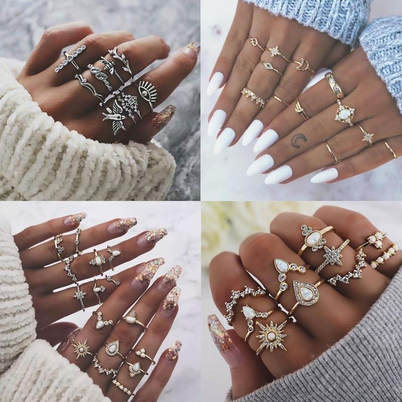 6 styl Vintage czeski Opal Knuckle zestaw pierścieni zestaw dla kobiet złoty kolor kwiat korona księżyc Finger pierścionki biżuteria 2019 nowy