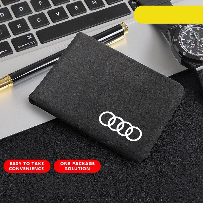 1pcs Car Document Bag Wallet Card Package Coin Holder driver license Case For Audi b5 b6 b7 b8 A3 A4 A4L A5 A6L C5 C6 RS4 RS5 Q3