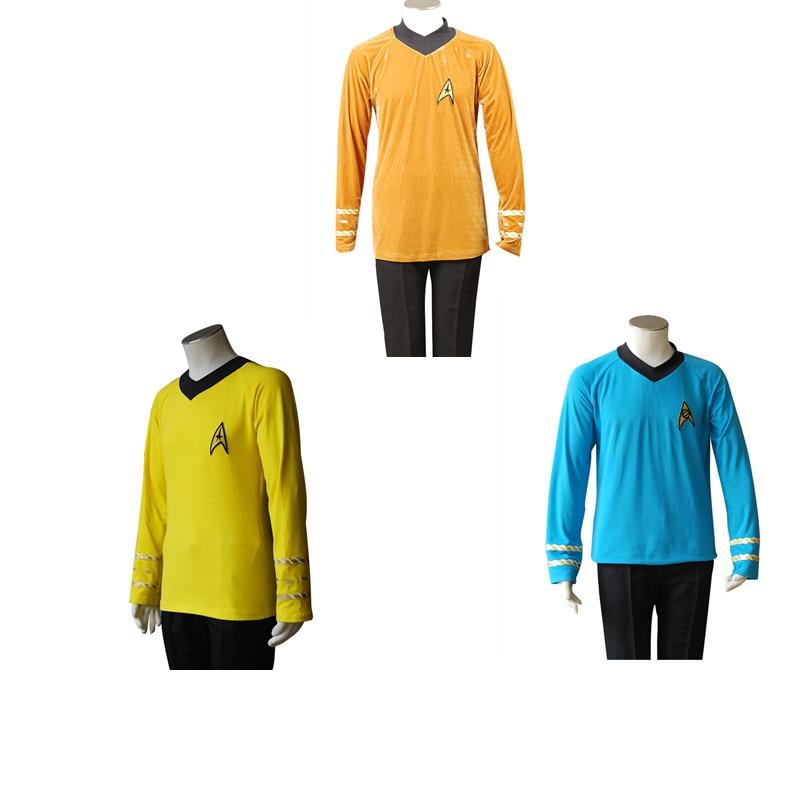 Disfraz de Cosplay de Star Trek, uniforme de camisa del Capitán Kirk Spock, disfraces de Carnaval de Halloween