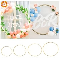 Cerceau Floral fait a la main 10-40cm  ornement suspendu pour la maison  couronne de fleurs en metal artificiel  anneau en fer dore  fournitures de decoration pour fete de mariage