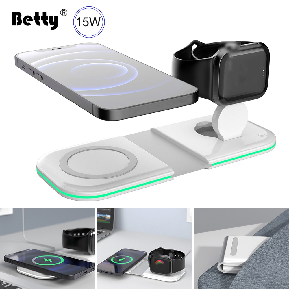 Betty Wireless Charger fast magsafing Charging Station Magnetic For iPhones iWatch Airpods induction