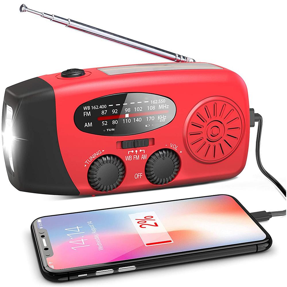 AM FM WB Solar Radio Multifunctional Hand Crank Powerful Electric Radio Built-In Speaker with LED Flashlight Waterpoof Radio